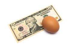 US-Dollar und das Ei ist eine Nahaufnahme auf einem weißen Hintergrund Stockbild