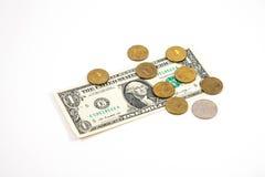 US-Dollar und russischer Rubel Stockbilder