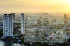 US-Dollar und Stadthintergrund Lizenzfreies Stockfoto