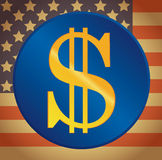 US dollar on a US flag background Royalty Free Stock Photos