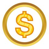 US Dollar vector icon. In golden circle, cartoon style isolated on white background Stock Images