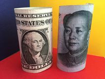 US dollar versus Chinese yuan Royalty Free Stock Photography