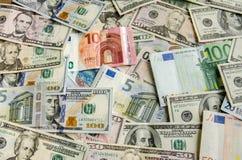 US Dollar versus Euro Royalty Free Stock Photography