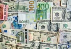 US Dollar versus Euro stock images