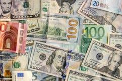 US Dollar versus Euro royalty free stock image