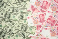 US dollar vs China yuan Royalty Free Stock Photography