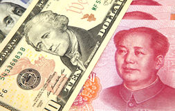 US dollar vs Chinese RMB Royalty Free Stock Photos