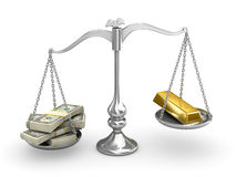 US Dollar vs Gold. Silver scale US Dollar vs Gold Stock Image