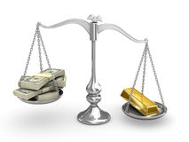 US Dollar vs Gold. Silver scale US Dollar vs Gold Royalty Free Stock Images