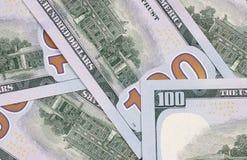 100 US-Dollar Zusammenfassungsgeld-Bargeldhintergrund Lizenzfreies Stockbild
