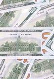 100 US-Dollar Zusammenfassungsgeld-Bargeldhintergrund Stockfotos