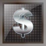 Us-dollaren belägger med metall undertecknar Arkivbilder