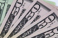 US dollarräkningar i fanform Royaltyfri Fotografi