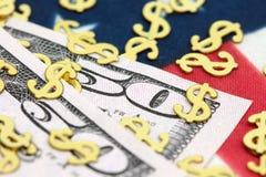 US dollarräkningar med stjärnor och band Fotografering för Bildbyråer