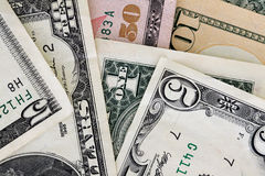 US Dollars. Close up of American dollar bills Royalty Free Stock Photography