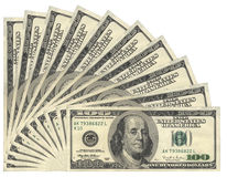 US Dollars. United States Dollars banknotes, isolated royalty free illustration