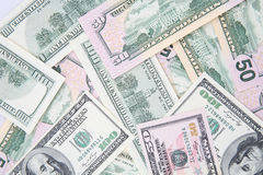 US Dollars. Background with hundred and fifty US Dollars bills Royalty Free Stock Images