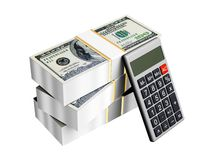 Us dollars. Money with calculator isolated royalty free illustration