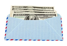 US dollars in airmail envelope. Isolated on white background Stock Photography