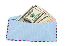 US dollars in airmail envelope Stock Photography