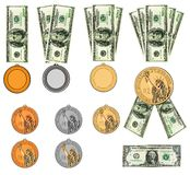 US dollars as medals, ribbon awards. Isolated Stock Photography