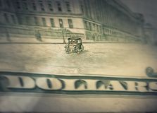 US dollars background, driving car detail Royalty Free Stock Images