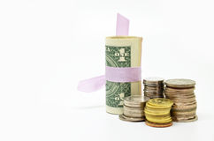 US dollars banknotes and coins Stock Photo