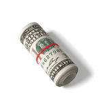 100 US dollars banknotes rolled up Stock Photos