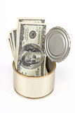 US dollars bills  in tin can Stock Images