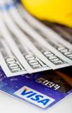 US dollars bills  in wallet and Visa credit card Stock Image