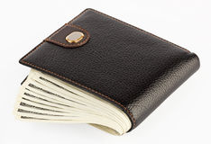 US dollars in a black purse Stock Photo