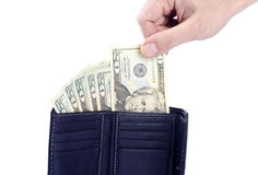 US Dollars in a Black Wallet Stock Image