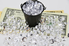 US Dollars covered with diamonds Stock Photo