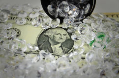 US Dollars covered with diamonds Royalty Free Stock Images