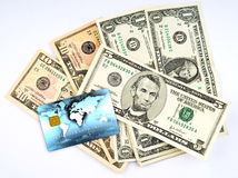 Us dollars with credit card Royalty Free Stock Photo