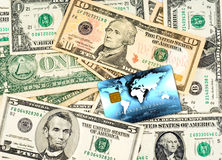 Us dollars with credit card Stock Photography