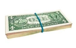 US-Dollars eingewickelt durch Gummi Lizenzfreie Stockbilder