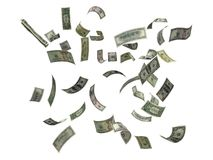 US dollars falling royalty free stock photos