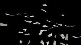 US Dollars Falling on Black with Luma Matte 4K vector illustration