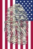 US Dollars Finger and American Flag. US Dollars Finger Impression and American Flag Stock Images