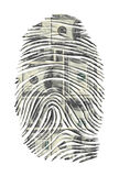 US Dollars Finger Print. On White Royalty Free Stock Photos