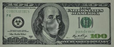 100 US dollars, Franklin with a medical mask on his face
