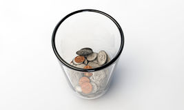 Us dollars in a glass Royalty Free Stock Photo