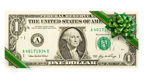 US dollars with green bow Royalty Free Stock Photography
