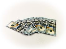 100 US-Dollars herum verbreitet Stockfotos