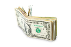 US dollars isolated. A lot of cash US dollars assorted bills, cash pile on white background.with clipping path Royalty Free Stock Photo