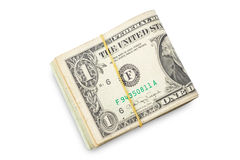 US dollars isolated. A lot of cash US dollars assorted bills, cash pile on white background.with clipping path Stock Image