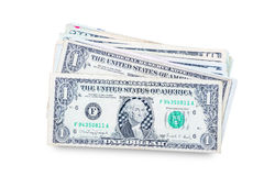 US dollars isolated. A lot of cash US dollars assorted bills, cash pile on white background.with clipping path Stock Photography