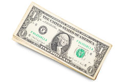 US dollars isolated. A lot of cash US dollars assorted bills, cash pile on white background.with clipping path Stock Photo