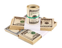 US dollars isolated on white closeup Royalty Free Stock Image